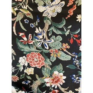 Schumacher Nymphaea Linen Fabric in Night 3 5/8 Yards For Sale