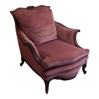 Antique French Style Rose Velvet Bergere Chair For Sale
