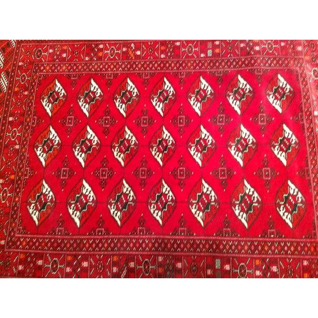 """Primitive 1960s Turkman Tribal Red and Cream Wool Carpet 4' X 5' 5"""" For Sale - Image 3 of 8"""
