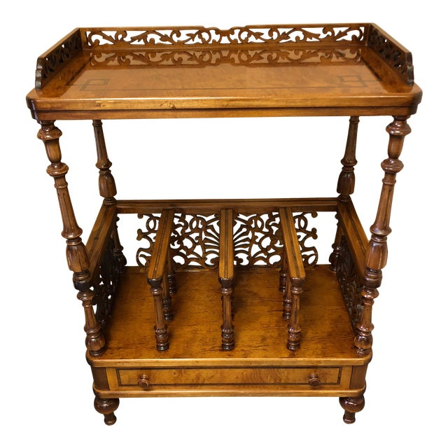 Mobili Burl Canterbury and Console With Carved Fretwork For Sale