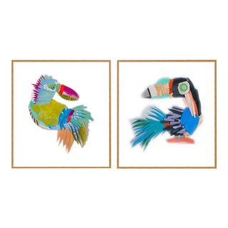Zazu & Diablo by Melvin G in Gold Framed Paper, Small Art Print For Sale