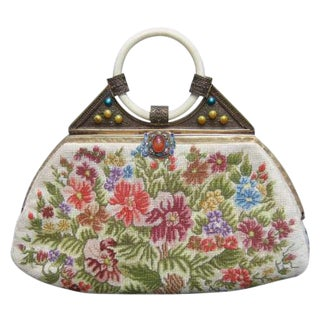 Exquisite Petit Point Jeweled Floral Evening Bag. 1920's. For Sale