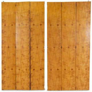 1930s Vintage Art Deco Six-Panel Birdseye Maple Marquetry Folding Screen For Sale