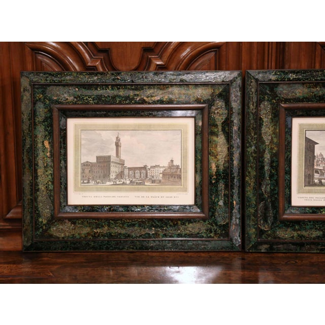 Decorate a den or office wall with these elegant, antique Florentine engravings. The framed, wall pieces show...