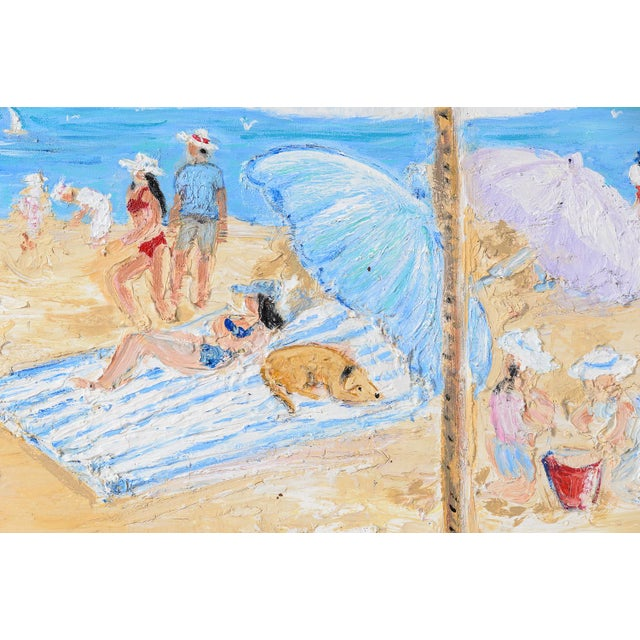 Blue Oil on Canvas Umbrella Beach by Artist Jean Le Page For Sale - Image 8 of 11