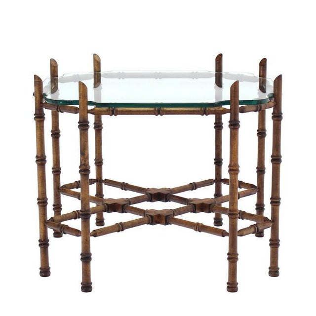 Mid-Century Modern Faux Bamboo Glass Top Side Table For Sale - Image 3 of 9