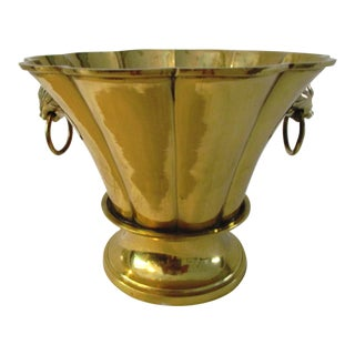 Vintage Brass Ringed Lion Cachepot For Sale