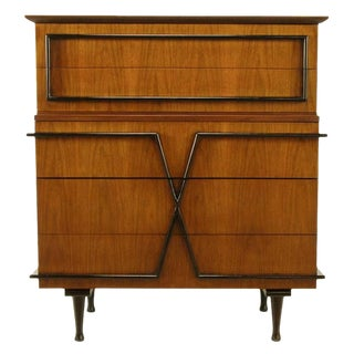 American of Martinsville Custom Walnut X-Front Tall Chest For Sale