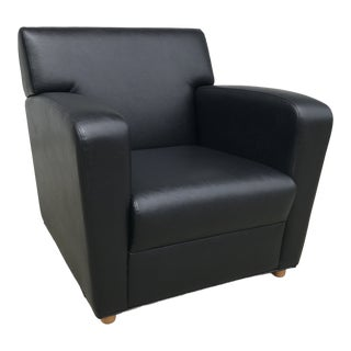 Jack Cartwright Black Leatherette Club Chair For Sale