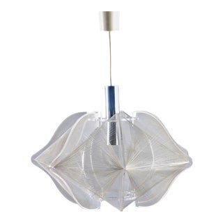 Mid-Century Modern Lucite and String Hanging Light Fixture