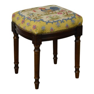 French Louis XVI Style Foot Stool w/ Needlepoint Rooster Seat