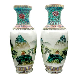 Vintage Chinese Famille Rose Medallion Scenic Calligraphy Vases - a Pair For Sale