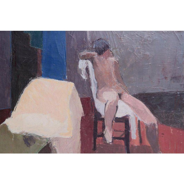 A Contemporary Oil on Canvas of a Nude in an Interior Seated on a Chair For Sale - Image 4 of 13