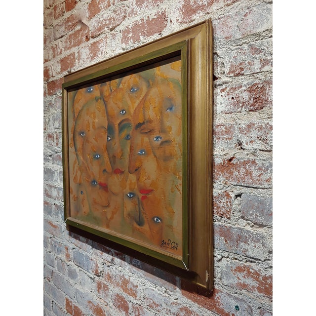 Brown Many Eyes & Faces Cubist Oil Painting Signed by Janco For Sale - Image 8 of 12