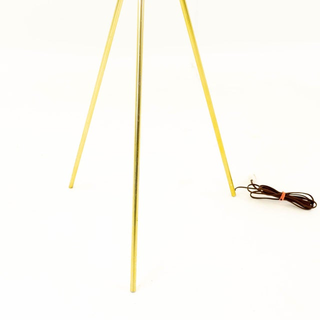 Metal Gerald Thurston for Lightolier Mid Century Brass Tripod Floor Lamps - Pair For Sale - Image 7 of 8