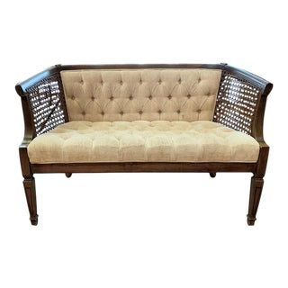 Mid Century Caned Settee, Love Seat For Sale