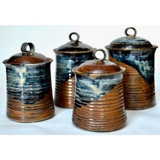 Blue Vintage Mid Century Stoneware Pottery Canister- Set of 4 For Sale - Image 8 of 8