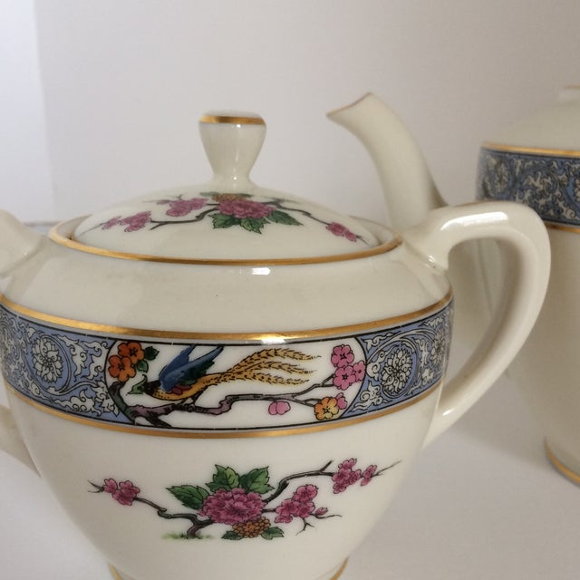 "Teapot with Creamer and Sugar ""Ming"" with Bird by Lenox - Set of 3 For Sale - Image 10 of 11"