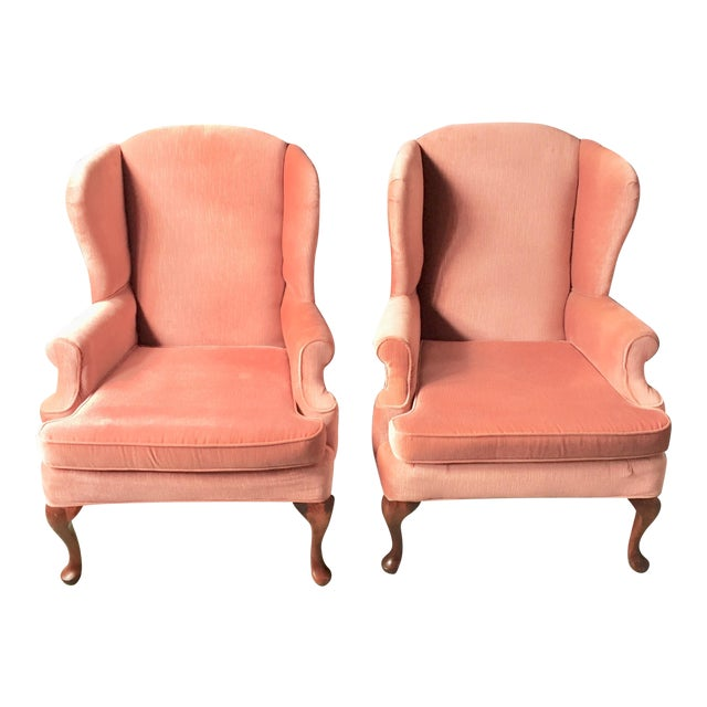 Pink Wingback Armchairs - A Pair - Image 1 of 11