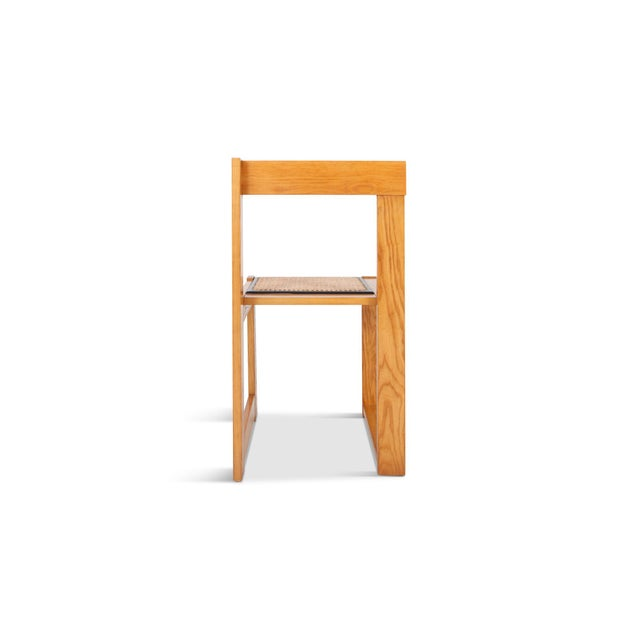 Carlo Scarpa Architectural & Asymmetrical Dining Chairs in Pine & Wicker For Sale - Image 4 of 9