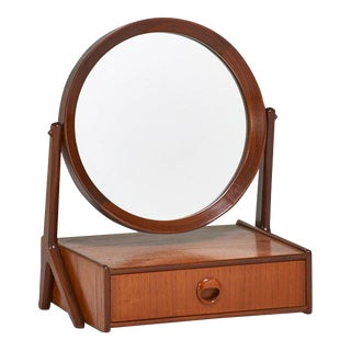 Danish Modern Teak Dressing Mirror with Drawer, Circa 1960 For Sale