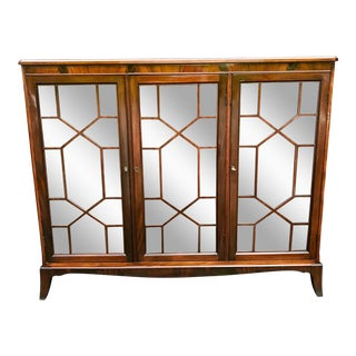 1930s English Traditional Mahogany Glass Front Bookcase For Sale