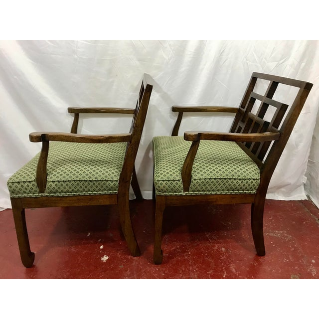 Chinese MCM Walnut Chippendale Interpretation Chairs a Pair For Sale - Image 3 of 6