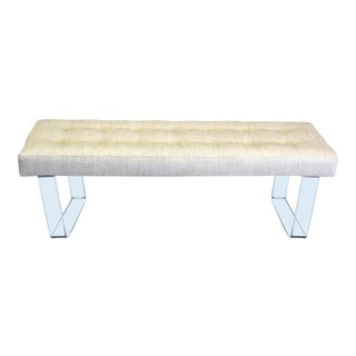 60 Inches Infinity Style Chenille & Lucite Bench For Sale