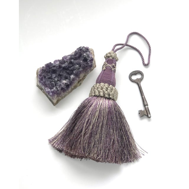 Key Tassel in Amethyst and Gray With Ruche Trim For Sale In New York - Image 6 of 11