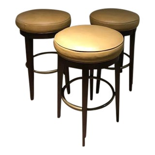 Leather Swivel Bar Stools - Set of 3