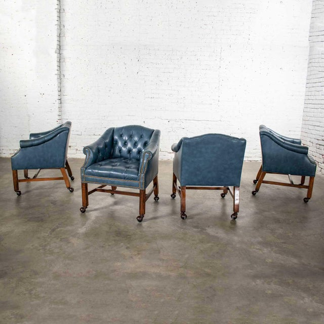 Blue Vinyl Faux Leather Chinese Chippendale Tub Style Rolling Game Chairs Set of Four For Sale - Image 12 of 13