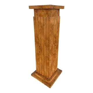 Neoclassical Burl Wood Fluted Pedestal For Sale