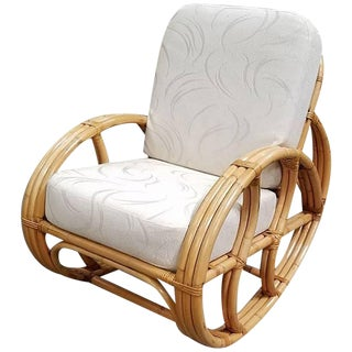 Restored Franco Albini Style Rattan Rocking Chair with White Cushions For Sale