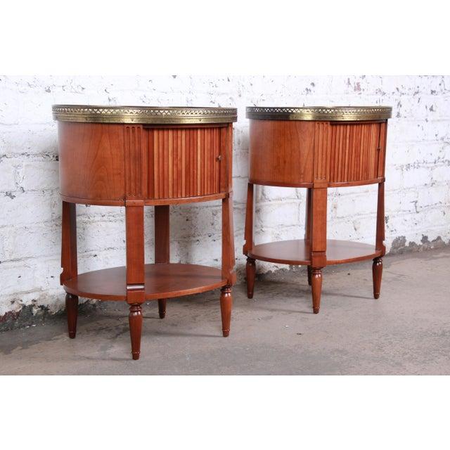 1960s Baker Furniture French Regency Cherry and Brass Tambour Door Nightstands, Pair For Sale - Image 5 of 13