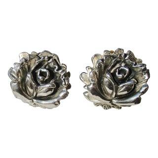 Open Rose Earring in Sterling Silver For Sale