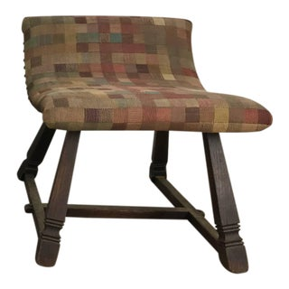 Unusual Oak and Fabric Parlor Fireside Stool/Bench Romweber For Sale
