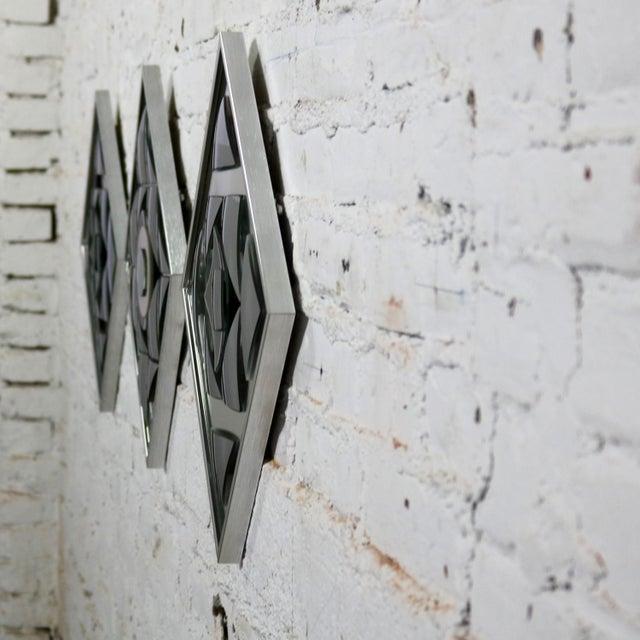 Pop Art Op Art Geometric Trio of Framed Mirror Wall Sculptures by Hal Bienenfeld For Sale - Image 11 of 13