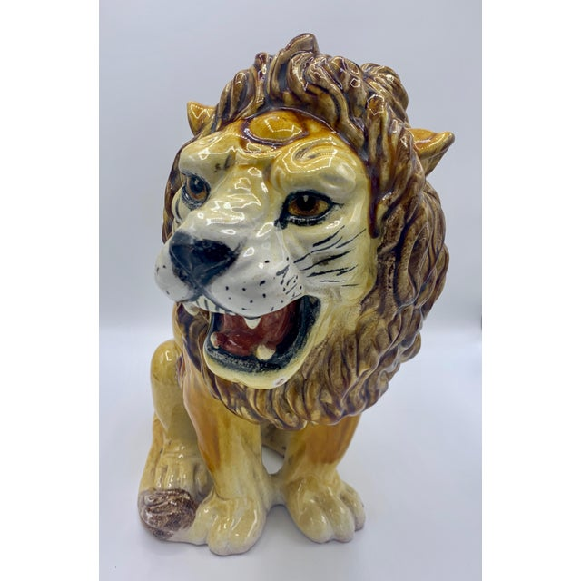 Large Italian Majolica Ceramic Roaring Lion Statue For Sale - Image 6 of 7