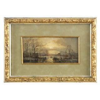 "Impressionist Adolf Stademann ""Figures Skating on a Lake"" Painting For Sale"