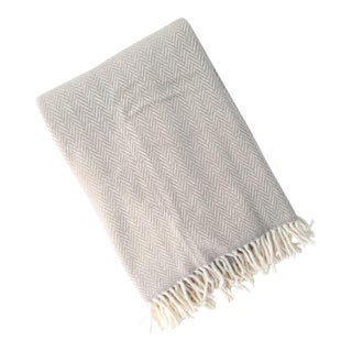 Fringed Gray Herringbone Throw Blanket For Sale