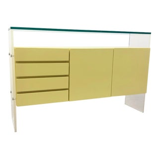 Mid 20th Century Milo Baughman for Thayer Coggin Yellow Lacquer and Lucite Sideboard For Sale