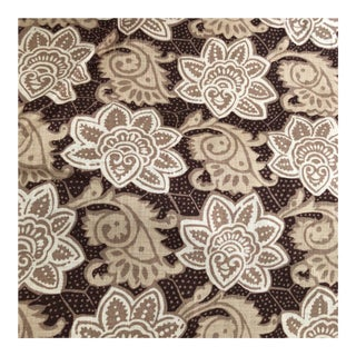 Tyler Hall Exclusive Mauritius Cream and Brown Patterned Fabric For Sale