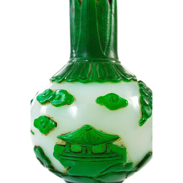 "Asian Chinese Antique 9"" Green & White Pecking Vase For Sale - Image 3 of 7"