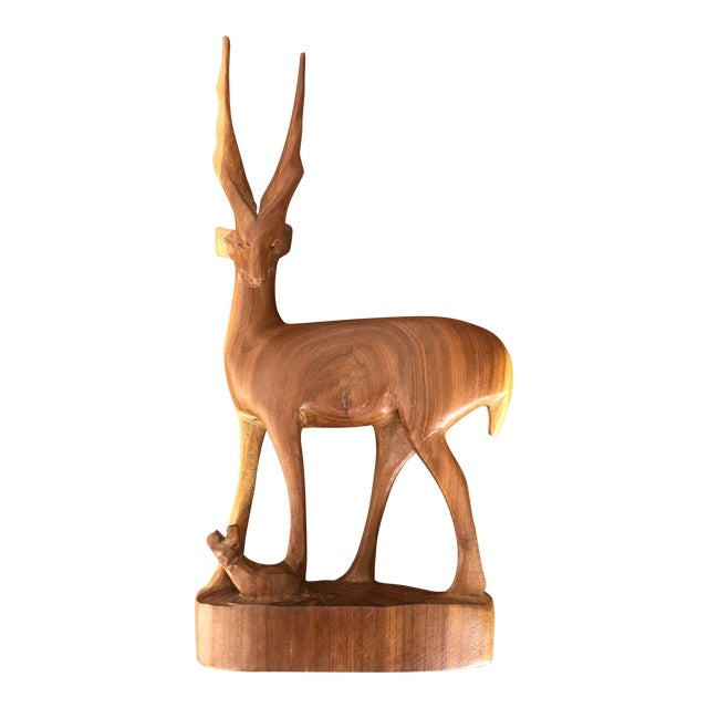 Vintage Mid Century Modern Hand Carved Wood Antelope Sculpture For Sale