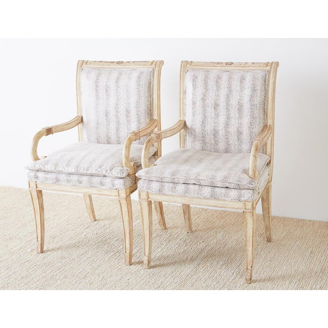 Neoclassical Pair of Neoclassical Regency Style Armchairs or Library Chairs For Sale - Image 3 of 13