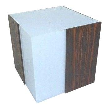 1970s Mid Century Modern Rosewood & Acrylic Floor Lamp Table For Sale