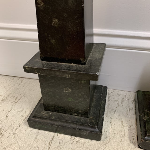 Neoclassical Malachite Marble Obelisks - a Pair For Sale - Image 3 of 13