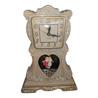 1940s Americana United Sweethearts Swinging Bakelight Clock For Sale