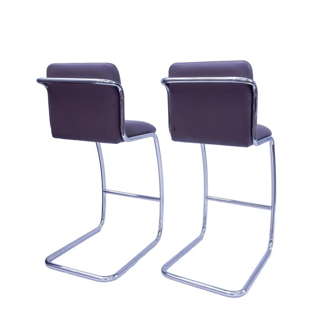 Brueton Modern Leather Barstools - A Pair - Image 5 of 5