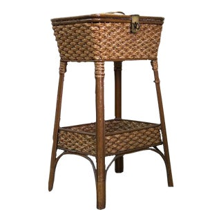 Late 19th Century English Wicker Sewing Basket For Sale